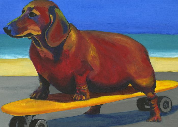 Skateboard Greeting Card featuring the painting Skaterdog by Debbie Brown