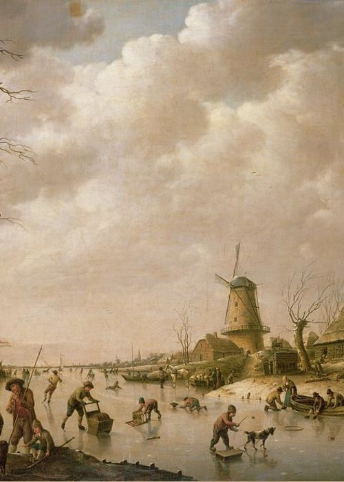 Skaters Greeting Card featuring the painting Skaters On A Frozen Canal by Hendrik Willem Schweickardt