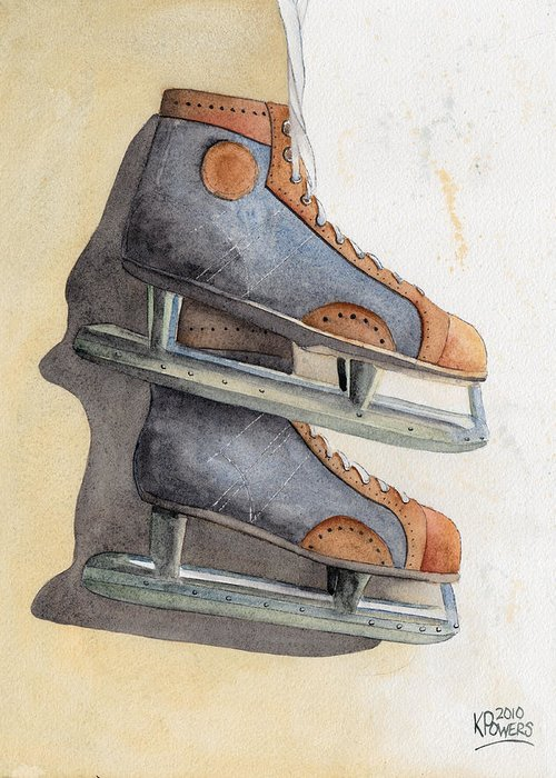 Skate Greeting Card featuring the painting Skates by Ken Powers