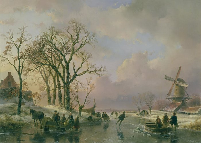 Skating Greeting Card featuring the painting Skating In Holland by Andreas Schelfhout