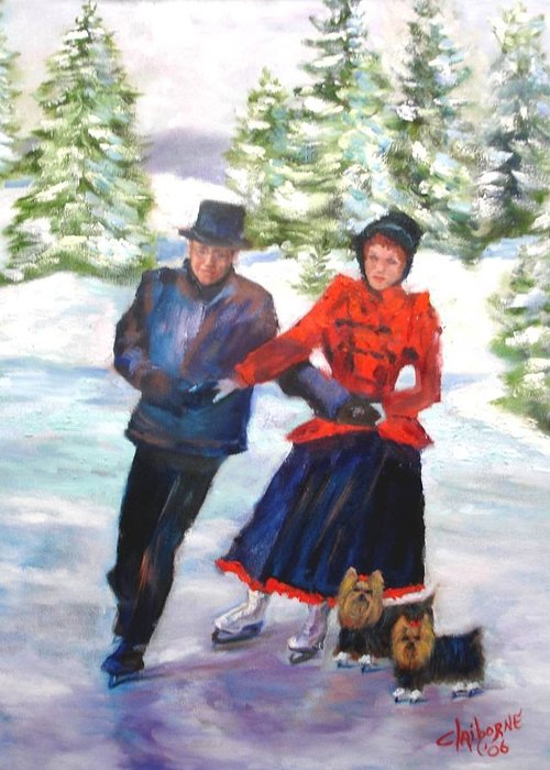 Christmas Card Greeting Card featuring the painting Skating In The Park by Claiborne Hemphill-Trinklein