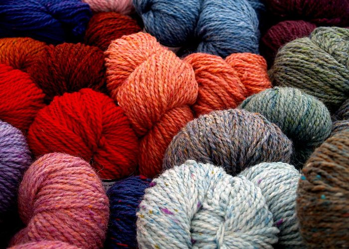 Yarn Greeting Card featuring the photograph Skeins Of Yarn by Richard Mansfield