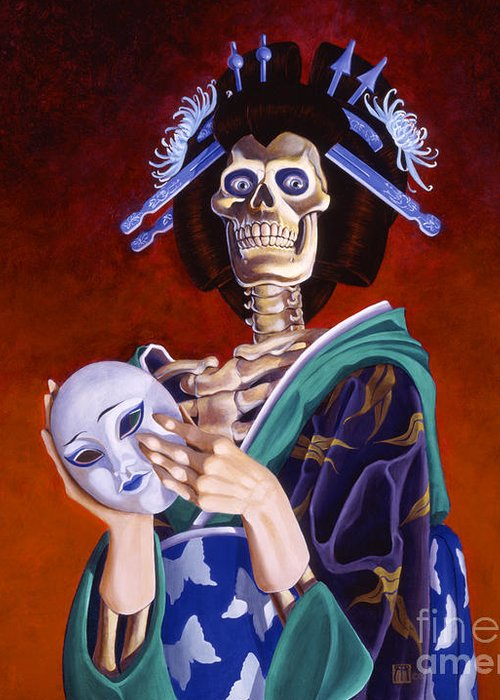 Skeleton Greeting Card featuring the painting Skeletal Geisha With Mask by Melissa A Benson