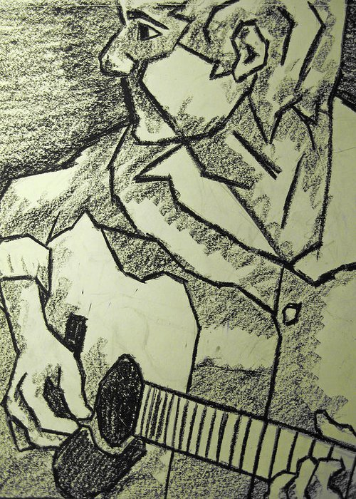 Guitar Greeting Card featuring the drawing Sketch - Guitar Man by Kamil Swiatek