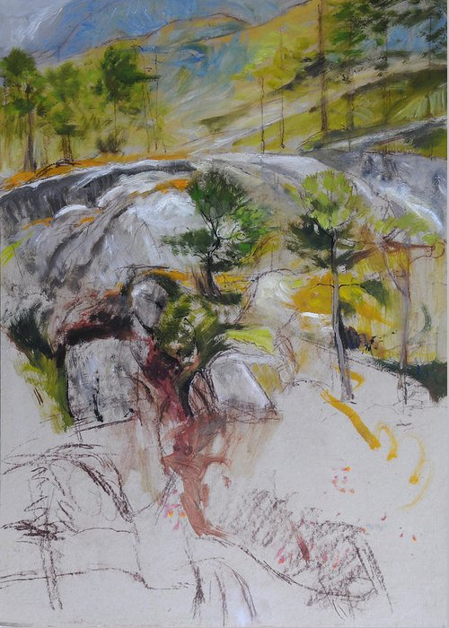 Landscape Greeting Card featuring the painting Sketch For Ogwen Painting by Harry Robertson