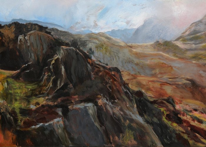 Landscape Greeting Card featuring the painting Sketch In Snowdonia by Harry Robertson