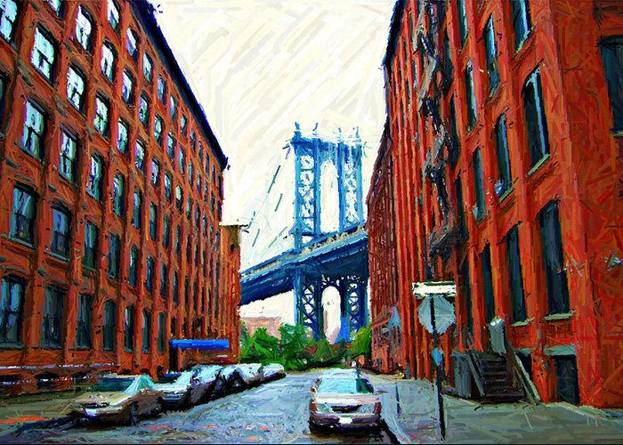 Brooklyn Greeting Card featuring the photograph Sketch Of Dumbo Neighborhood In Brooklyn by Randy Aveille