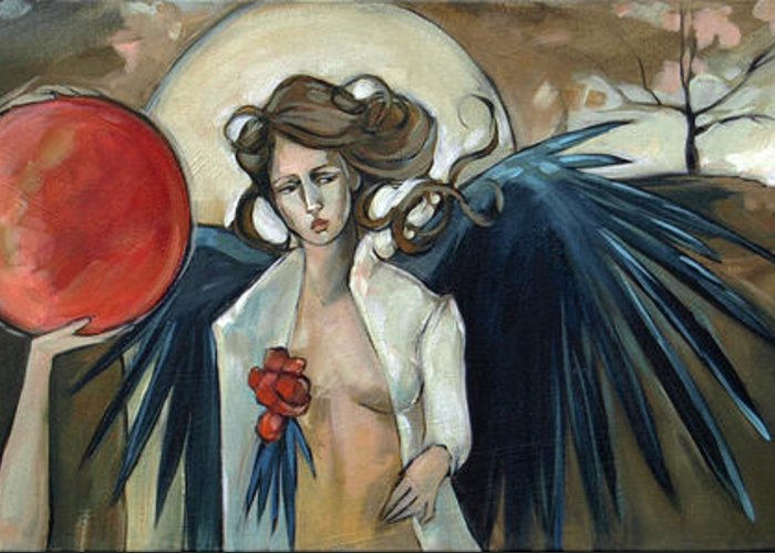 Angels Greeting Card featuring the painting Sketchbook Processional by Jacque Hudson