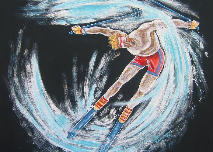 Abstract Sports Greeting Card featuring the painting Ski Bum by V Boge