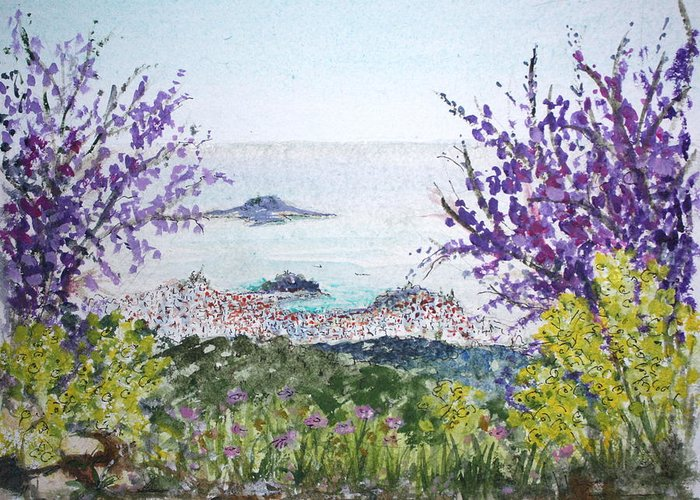 Purple Greeting Card featuring the painting Skiathos Town And Judas Trees by Yvonne Ayoub