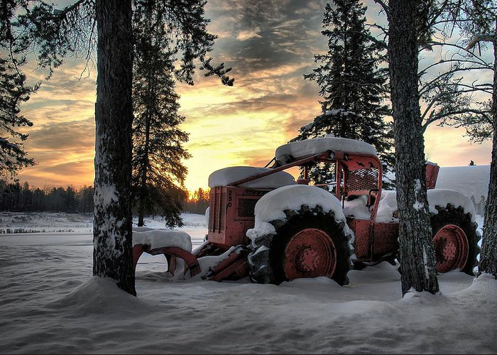 Landscape Greeting Card featuring the photograph Skidder Sunrise by Heather Rivet