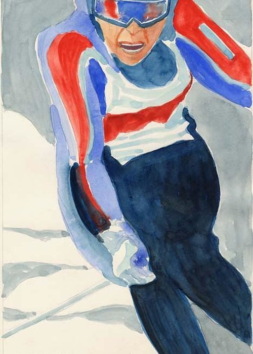 Skier Greeting Card featuring the painting Skier by Fred Jinkins