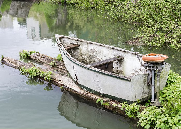 Boat Greeting Card featuring the photograph Skiff And Motor by John Trax