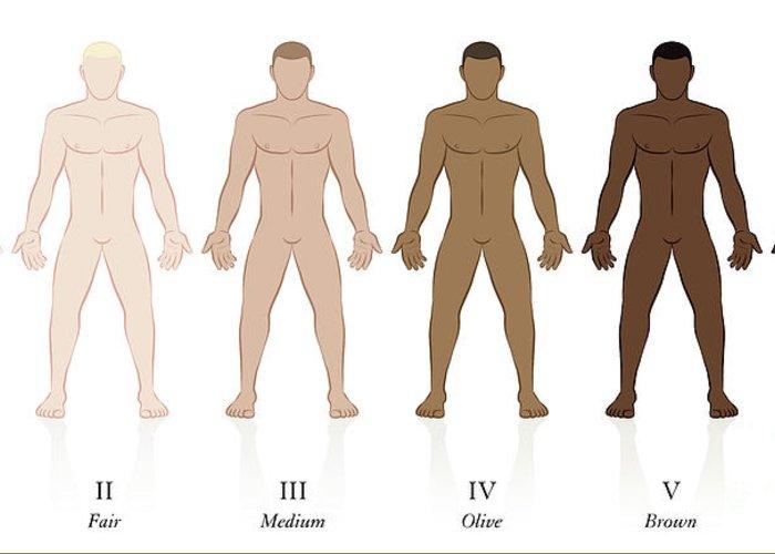 Skin types men body fair pale blonde brown black greeting card for skin types greeting card featuring the digital art skin types men body fair pale blonde brown m4hsunfo
