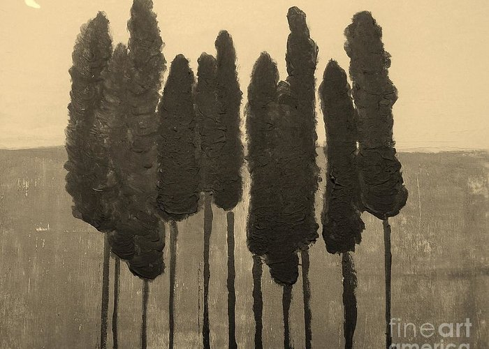 Painting Greeting Card featuring the painting Skinny Trees In Sepia by Marsha Heiken