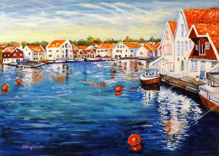 Norway Greeting Card featuring the painting Skudeneshavn Norway by Carol Allen Anfinsen
