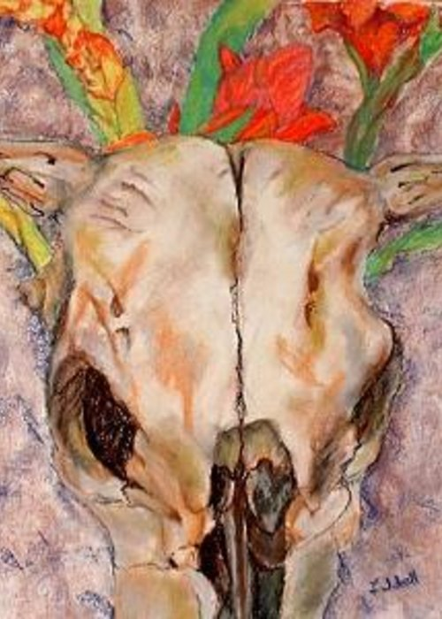Cow Skull Greeting Card featuring the drawing Skull And Glads by Ladonna Idell