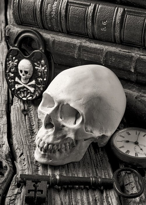 Skull Greeting Card featuring the photograph Skull And Skeleton Key by Garry Gay