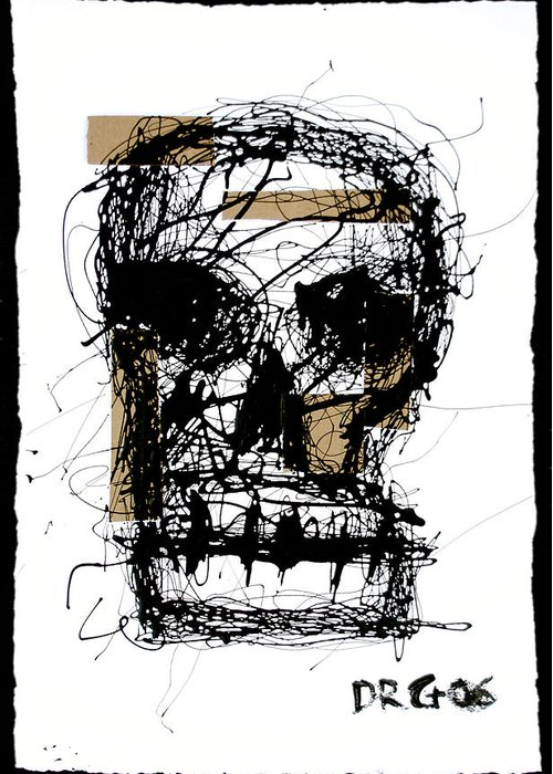 Abstract Greeting Card featuring the painting Skull by Dmitry Gubin