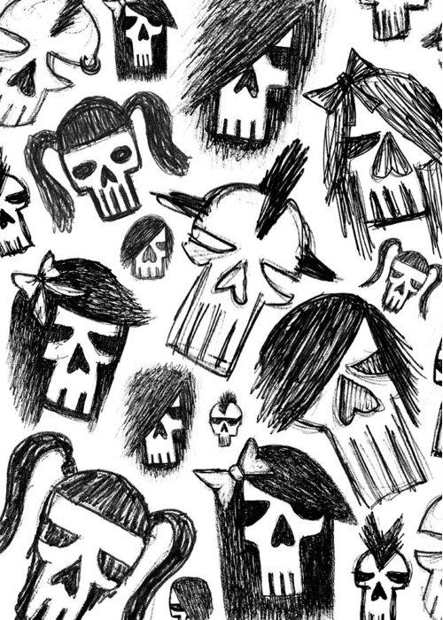 Skull Greeting Card featuring the digital art Skull Sketch Collage by Roseanne Jones