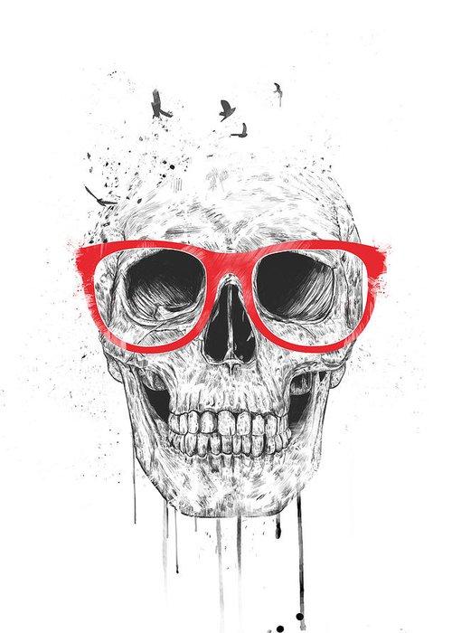 skull with red glasses greeting card for sale by balazs solti rh fineartamerica com Crazy Skull Art Crazy Skull Art