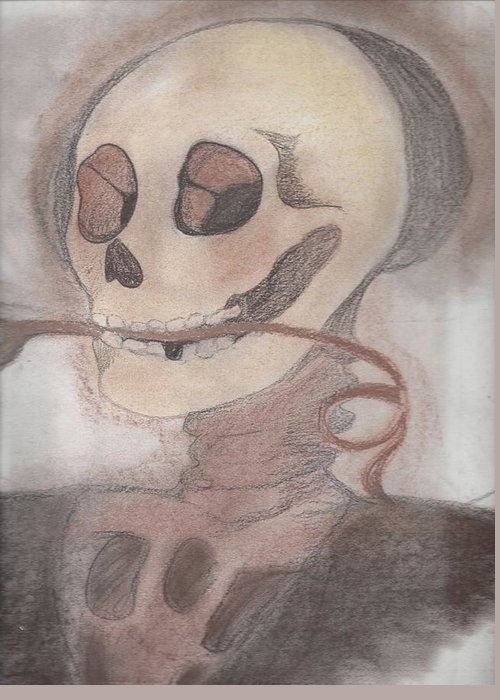 Skull Greeting Card featuring the drawing Skulls A Wimzy by Crystal Guzman
