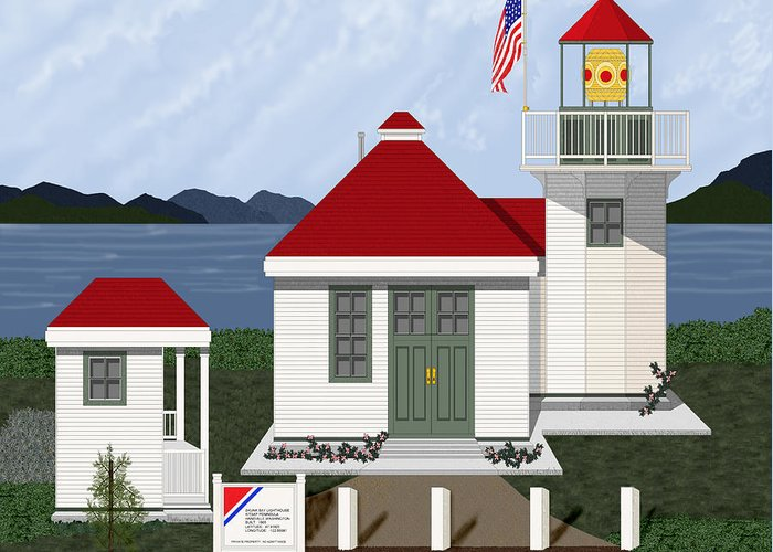 Skunk Bay Lighthouse Greeting Card featuring the painting Skunk Bay Lighthouse by Anne Norskog