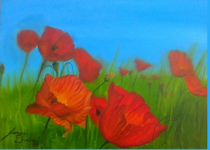 Red Impressionism Greeting Card featuring the painting Sky Blue Poppies by Portland Art Creations