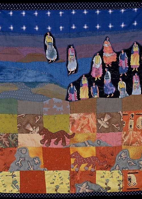 Quilt Greeting Card featuring the tapestry - textile Sky Dancers by Roberta Baker