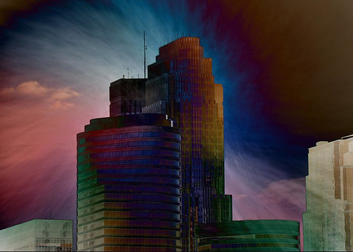 Skyscrapers Greeting Card featuring the photograph Sky Disruptors by John Ricker