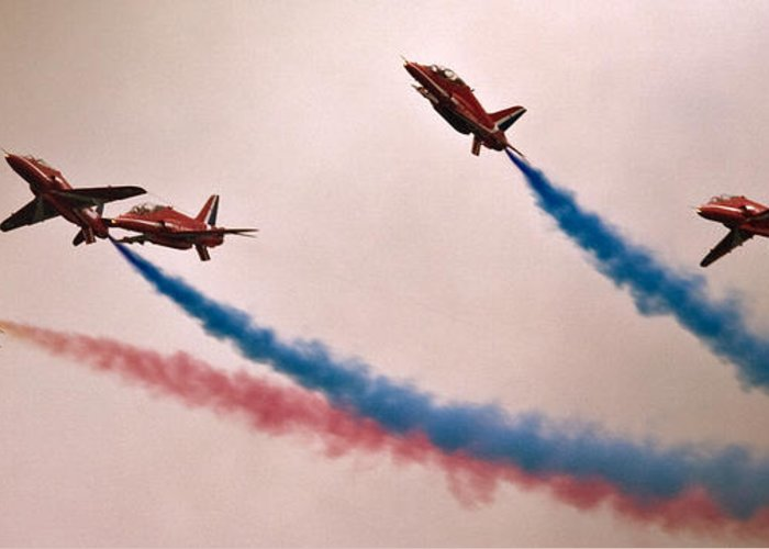 Red Arrows Greeting Card featuring the photograph Sky Dolphins by Angel Ciesniarska