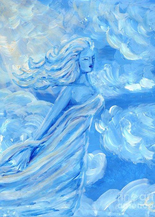 Goddess Greeting Card featuring the painting Sky Goddess by Cassandra Geernaert