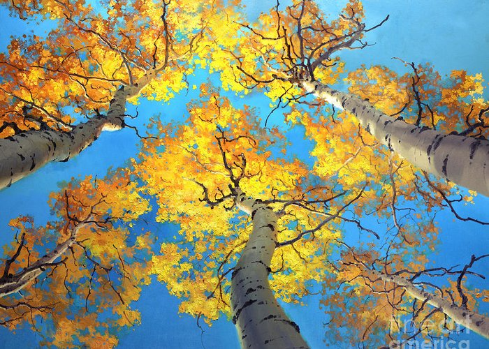Aspen Trees Birch Gary Kim Oil Print Art Nature Scenes Hospital Healing Environment Patient Santa Fe Fall Trees Autumn Season Beautiful Beauty Yellow Red Orange Fall Leaves Foliage Autumn Leaf Color Mountain Oil Painting Original Art Horizontal Landscape National Park America Morning Nature Wallpaper Outdoor Panoramic Peaceful Scenic Sky Sun Travel Vacation View Season Bright Autumn National Park America Clouds Landscape Natural New Painting Oil Original Vibrant Texture Reflections Bluesky Greeting Card featuring the painting Sky High Aspen Trees by Gary Kim