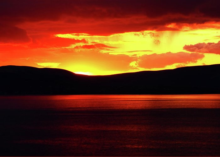 Sunsets Greeting Card featuring the photograph Sky Of Fire by Aidan Moran