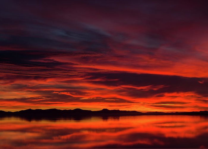 Antelope Island Greeting Card featuring the photograph Sky On Fire by Adam Colick