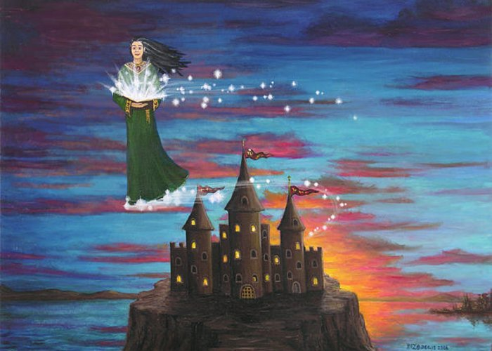 Wizard Greeting Card featuring the digital art Sky Walker by Roz Eve