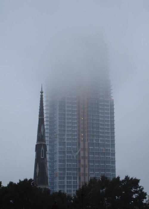 Skycraper Greeting Card featuring the photograph Skycraper In The Fog by Karla Kernz