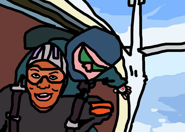 Skydiving Greeting Card featuring the digital art Skydiving by Jera Sky