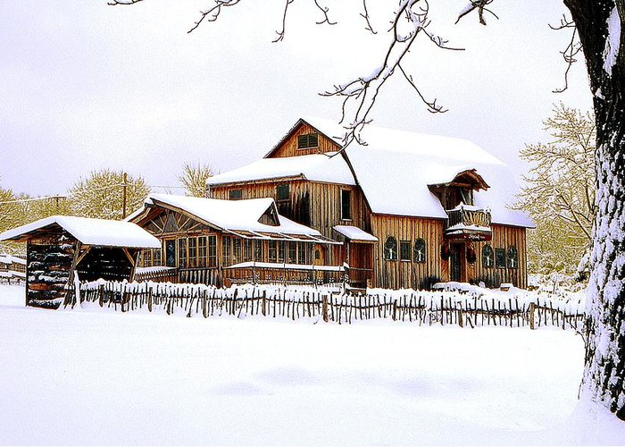 Barn Greeting Card featuring the photograph Skyland Farms In Winter by Roger Soule