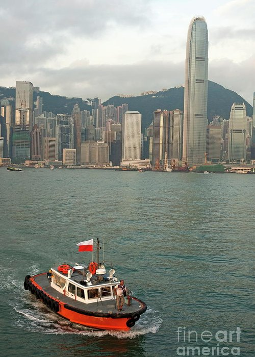 Adult Greeting Card featuring the photograph Skyline Across The Harbor From Kowloon In The Morning by Sami Sarkis