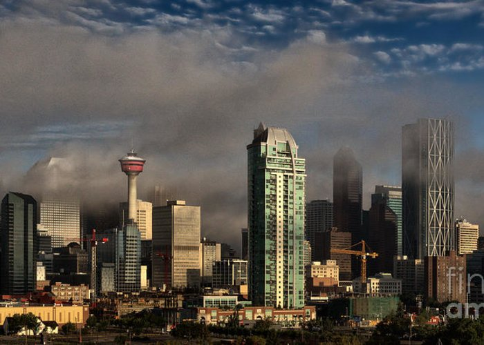 Alberta Greeting Card featuring the photograph Skyline Fog by Brad Allen Fine Art