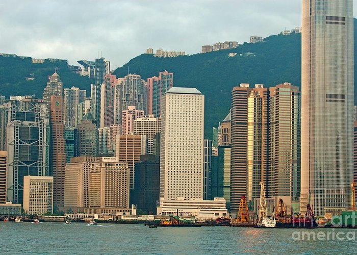 Asia Greeting Card featuring the photograph Skyline From Kowloon With Victoria Peak In The Background In Hong Kong by Sami Sarkis