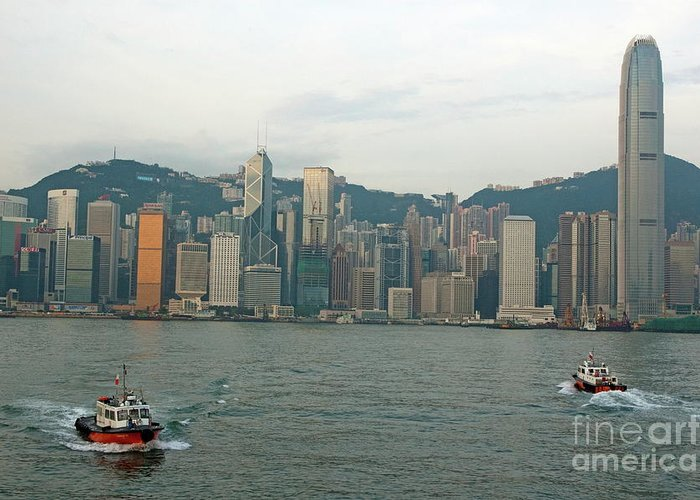 Asia Greeting Card featuring the photograph Skyline From Kowloon With Victoria Peak In The Background by Sami Sarkis