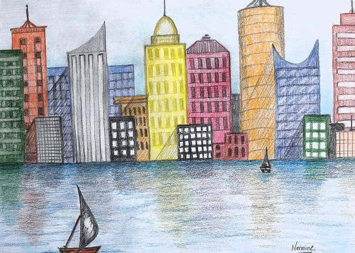 Buildings By The Sea Drawings Greeting Cards