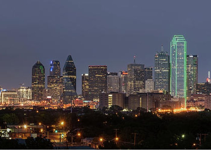 Dallas Greeting Card featuring the photograph Skyline Of Dallas Pano by Tod and Cynthia Grubbs