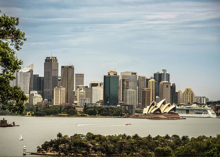 Australia Greeting Card featuring the photograph Skyline Of Sydney Downtown Viewed From Taronga Hill, Australia by Miroslav Liska