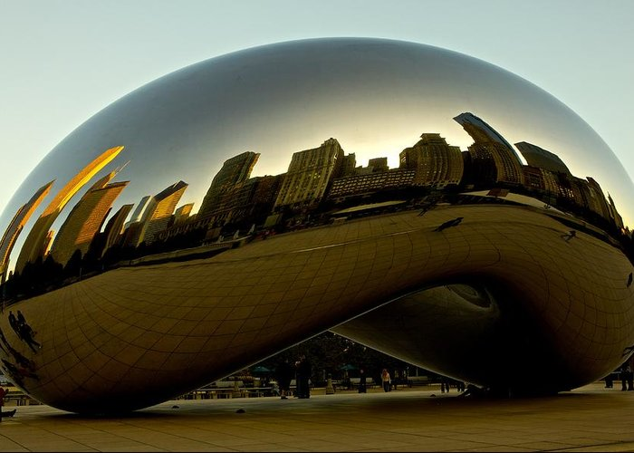 Chicago Greeting Card featuring the photograph Skyline Reflection On Cloud Gate - Chicago - by Miranda Miranda