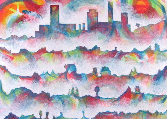 Cityscape Greeting Card featuring the painting Skyline by Rollin Kocsis