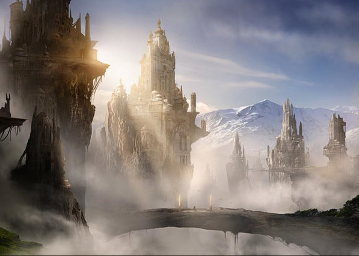 Game Art Greeting Card featuring the digital art Skyrim Fantasy Ruins by Alex Ruiz