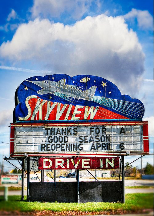 Clouds Greeting Card featuring the photograph Skyview Drive-in Theater by Robert FERD Frank